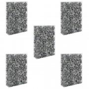Комплект от 5 броя градински габиони - ограда, 150 x 100 x 30cm