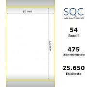 Etichette SQC - Carta patinata (bobina), formato 80 x 120