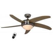 Casafan Designer Ceiling Fan, Quiet, 132 Cm Brushed Chrome, Wood Maple Blades, With Light, Casafan Elica Bn-Ah