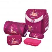 Ghiozdan ergonomic echipat (sac sport, necessaire triunghiular, penar echipat cu 17 piese, cutiuta sandwich) dimensiune 36x39x22 cm motiv Flexi Plus Deerfamily