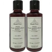 Khadi Pure Herbal Woody Sandal Honey Shampoo SLS-Paraben Free - 210ml (Set of 2)