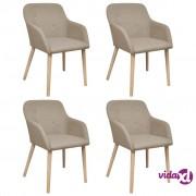 vidaXL Blagovaonske stolice od tkanine i masivne hrastovine 4 kom bež