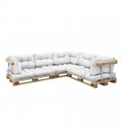 [en.casa]® Sofá de palés - europalés de 5 plazas con cojines - (blanco) Set completo, incluidos apoyabrazos y respaldos