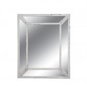 Oglinda decorativa dreptunghiulara cu cadru dublu alb patinat Trimar Stencil