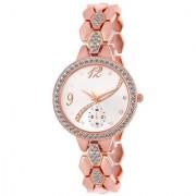 5STAR Rose Gold Chronograph Pattern Diamond Studded Metal Bracelet Analog Watch For Girls Women
