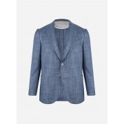 Corneliani Regular-fit melange jasje in wol-zijde blend Blauw