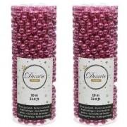 Geen Fuchsia roze kralenslinger kerstslinger 10 mtr 2 stuks
