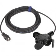 Rubber verlengkabel 15M zwart 3-voudige contactdoos en zware rubberkabel H07RN-F 3 x 1,5mm