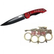 prijam Pocket Knife F-832R (21cm) Model & Top Model Knuckle Punch Pack of 2 Products