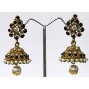 Tilak Shape Black Stone Jhumka Earring