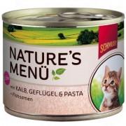 Schmusy Nature Kitten 6 x 190 g - Kitten telecí, drůbeží & těstoviny