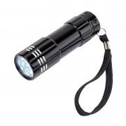 Geen 2x stuks kleine power 9x-LED metalen zaklamp zwart