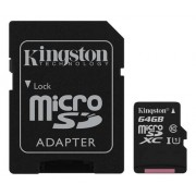 Kingston 64gb microsdxc canvas select 80r cl10 uhs-i card+sd