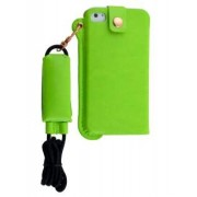 Ultra Slim Synthetic Leather Pouch with Strap for iPhone 4/4S - Apple Leather Slide-in Case (Lime Green)