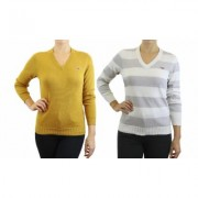 Women's Retro Fox Junior's Long Sleeve Knit V-Neck Sweaters 1, 2 or 3Pack S (0/2) Pebble & Dark Mustard
