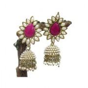 Aashiqui 2 Dark Pink polki pearls Jhumka Earring
