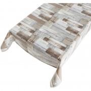 Merkloos Bruin/grijs tuin tafellaken voor buiten houten plankjes print 140 x 245 cm PVC/kunststof