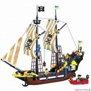 E.Brick Large Pirate Ship 590Pcs 6 Figures Cannons Caribbean Sea Compatible! New (307)