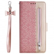 Bolsa tipo Carteira Lace Pattern para Samsung Galaxy A20s - Cor-de-Rosa Dourado