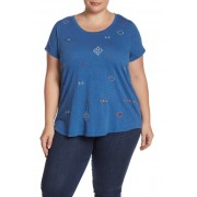 Lucky Brand Allover Embroidery Tee Plus Size LIGHT BLUE