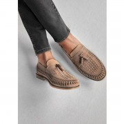 River Island Mens Beige leather woven tassel loafers (Size 11)