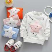 Unisex Children's Summer Autumn Cotton Long Sleeve T-shirts Star Pattern Printed Free Style Girls Clothing 2017