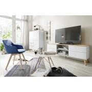Tenzo TV-Meubel Dot 4-Laden B162 X D43 X H60 Cm - Wit - Eiken Poten