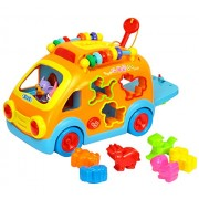 GoAppuGo Musical Educational Activity Car with animal sounds, blocks, colourful beads, Birthday gift toys for 1 year old boy girl, 2 year old boy girl, baby car toys for 3 years boys girls