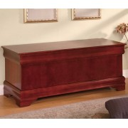 900022 Cherry finish wood louis phillipe style cedar lined storage hope chest