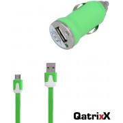 Mini USB Auto Lader Car Charger groen + platte Micro USB datakabel 1 meter voor Huawei P9 Lite