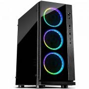 Chassis INTER-TECH W-III RGB Midi Tower, eATX, 1xUSB3.0, 2xUSB2.0, audio, PSU optional, Acrylic side, Tempered glass front3x 120mm RGB fans, Black IT-W-III_RGB