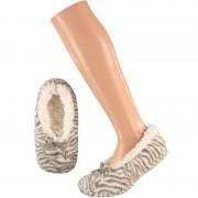 Apollo Grijze ballerina huispantoffels/sloffen zebraprint voor meisjes maat 31-33