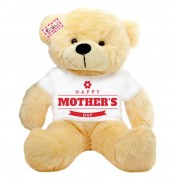 2 feet big peach teddy bear wearing Happy Mothers Day flower T-shirt