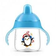 Неразливаща се бебешка чаша с мек накрайник Philips-Avent 260мл., син пингвин, 0760136