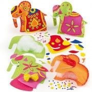 Ambari Elephant Felt Cushion Sewing Kits Pre-Cut Felt Pieces and Decorations for Children to Sew & M
