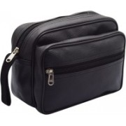 ShabCreation Multi Purpose Leather Utility Travel Bag/Kit Black Travel Shaving Bag(Black)