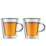 Bodum CANTEEN Set 2 verres, double paroi, avec anse, 0.2 l Transparent