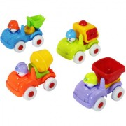 DealBindaas Plastic Unbreakable Construction Car Vehicle Model 4 Pc Set Free Wheel Action Multi Colour Toys Children Gift Collection Bathing Toy