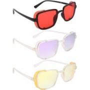 NuVew Wayfarer, Shield Sunglasses(Red, Violet, Yellow)