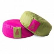 PRANA Pink + Zöld 2in1 kifordítható huzat 36x12 cm kerek jóga ülőpárnához