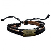 Men Style Genuine Leather Best Friend Square Rope Adjustable Multi-Layer Wristband for Men SBr005078 Black and Gold Leather Bracelet For Men and Women