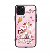 KINGXBAR Palace Series Crystals Decor Incoming Call Flash TPU + Tempered Glass Protective Case for iPhone 11 Pro Max 6.5 inch - Pink