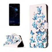 Huawei P10 Lite Little Blue Butterfly Pattern Horizontal Flip Leather Protective Case with Holder & Card Slots & Wallet