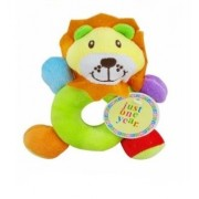 Kuhu Creations® Supreme Multicolor Cute Rattle Toys. (Ring Rattles-Lion Style: Cream,Green 1 Unit)