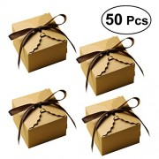 50Pcs Kraft Paper Candy Box Rustic Wedding Favors Candy Holder Bags Wedding Party Birthday Party Gift Boxes with Ribbon (Light Brown)