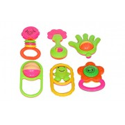 Sharma Clothing -New Born Baby Infant Toddler Babies Toys Rattle Plush Rings Sets with Teether Cartoon Shape Sweet Cuddle Colorful Set Pleasant to Baby Eyes Non Toxic Durable Quality Baby's First Gift (SC-Rattle-6 Pieces_Big)