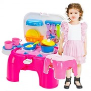 Toys Bhoomi 2 In 1 Carry-On Kitchen Play Set Chair With Lights & Sounds For Your Little Princess - Multi Color