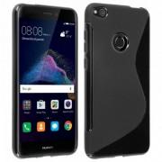 Avizar S-Line Funda de Silicona Flexible Negra para Huawei P8 Lite 2017/Honor 8 Lite