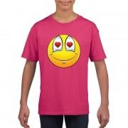 Shoppartners Smiley t-shirt verliefd roze kinderen