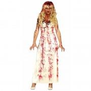 Merkloos Horrorkleding lange witte jurk met bloed